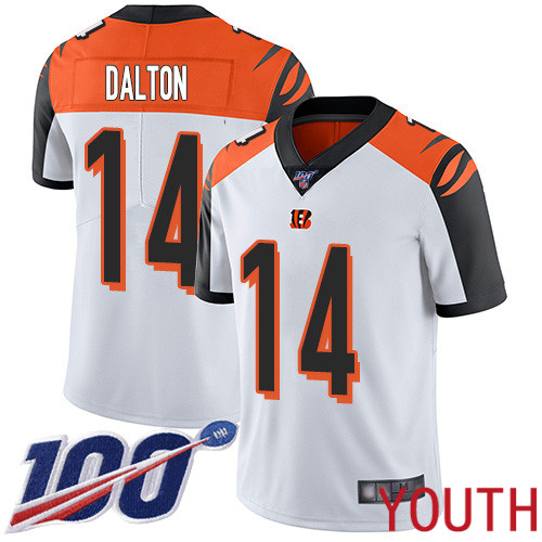 Cincinnati Bengals Limited White Youth Andy Dalton Road Jersey NFL Footballl 14 100th Season Vapor Untouchable
