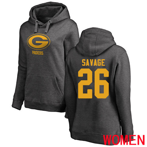 Green Bay Packers Ash Women 26 Savage Darnell One Color Nike NFL Pullover Hoodie Sweatshirts