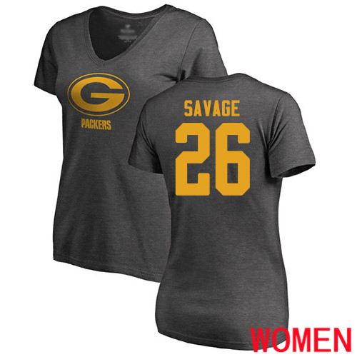 Green Bay Packers Ash Women 26 Savage Darnell One Color Nike NFL T Shirt