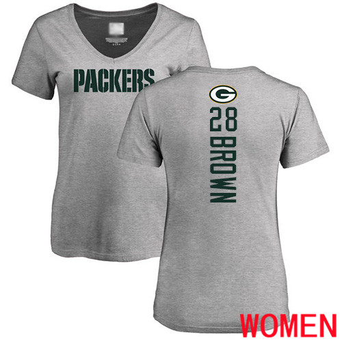 Green Bay Packers Ash Women 28 Brown Tony Backer V-Neck Nike NFL T Shirt
