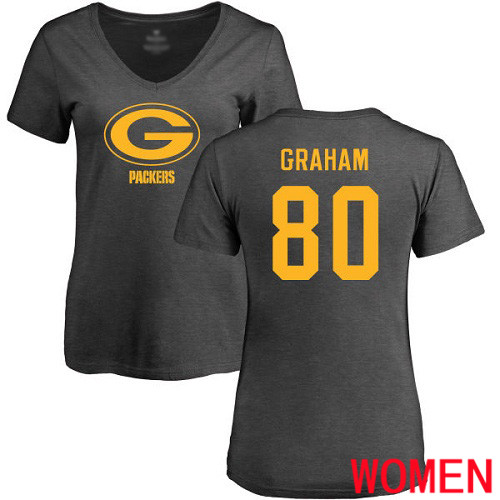 Green Bay Packers Ash Women 80 Graham Jimmy One Color Nike NFL T Shirt