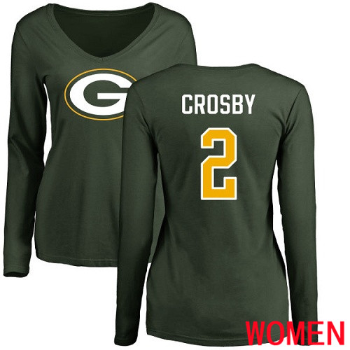 Green Bay Packers Green Women 2 Crosby Mason Name And Number Logo Nike NFL Long Sleeve T Shirt