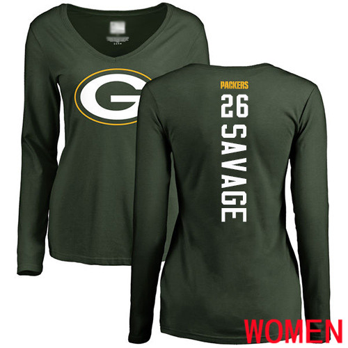 Green Bay Packers Green Women 26 Savage Darnell Backer Nike NFL Long Sleeve T Shirt