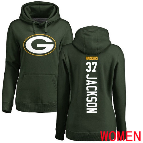 Green Bay Packers Green Women 37 Jackson Josh Backer Nike NFL Pullover Hoodie Sweatshirts