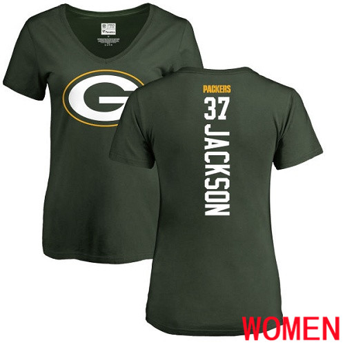 Green Bay Packers Green Women 37 Jackson Josh Backer Nike NFL T Shirt
