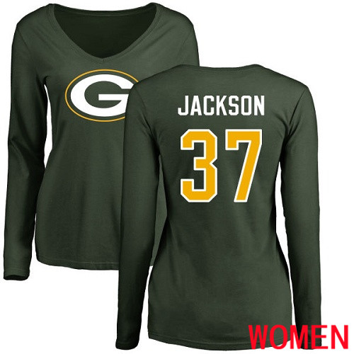 Green Bay Packers Green Women 37 Jackson Josh Name And Number Logo Nike NFL Long Sleeve T Shirt