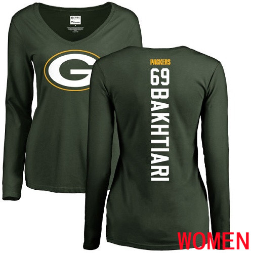 Green Bay Packers Green Women 69 Bakhtiari David Backer Nike NFL Long Sleeve T Shirt