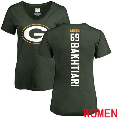 Green Bay Packers Green Women 69 Bakhtiari David Backer Nike NFL T Shirt