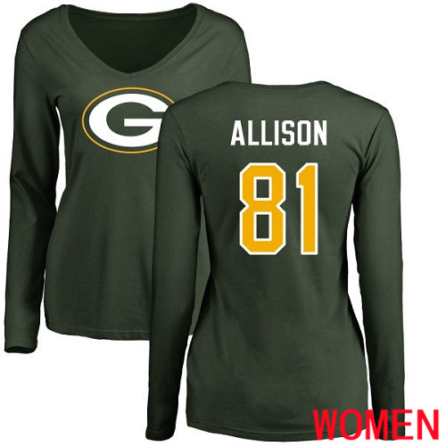 Green Bay Packers Green Women 81 Allison Geronimo Name And Number Logo Nike NFL Long Sleeve T Shirt