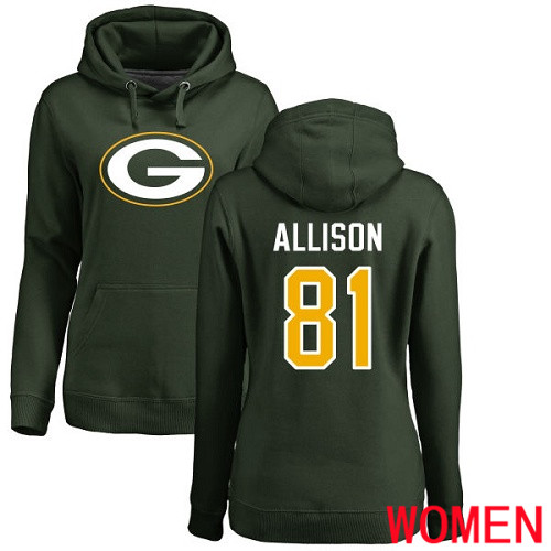 Green Bay Packers Green Women 81 Allison Geronimo Name And Number Logo Nike NFL Pullover Hoodie Sweatshirts