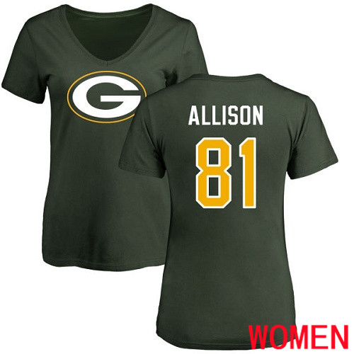 Green Bay Packers Green Women 81 Allison Geronimo Name And Number Logo Nike NFL T Shirt