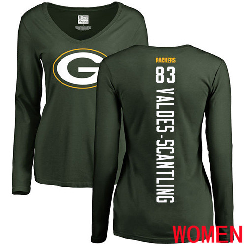 Green Bay Packers Green Women 83 Valdes-Scantling Marquez Backer Nike NFL Long Sleeve T Shirt