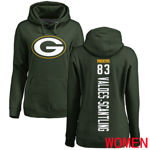 Green Bay Packers Green Women 83 Valdes-Scantling Marquez Backer Nike NFL Pullover Hoodie Sweatshirts