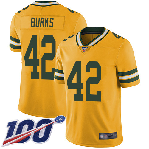 Green Bay Packers Limited Gold Men 42 Burks Oren Jersey Nike NFL 100th Season Rush Vapor Untouchable