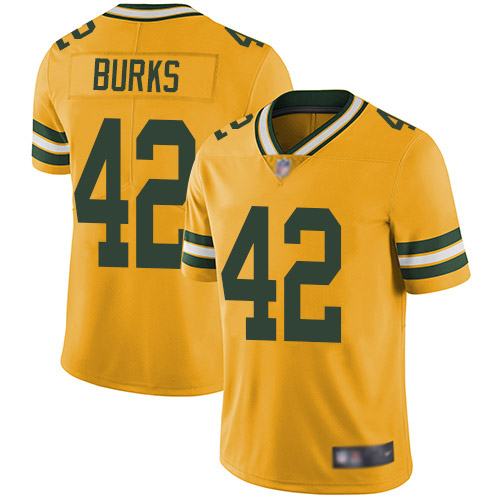 Green Bay Packers Limited Gold Men 42 Burks Oren Jersey Nike NFL Rush Vapor Untouchable