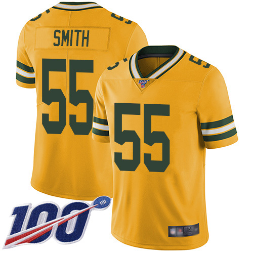 Green Bay Packers Limited Gold Men 55 Smith Za Darius Jersey Nike NFL 100th Season Rush Vapor Untouchable