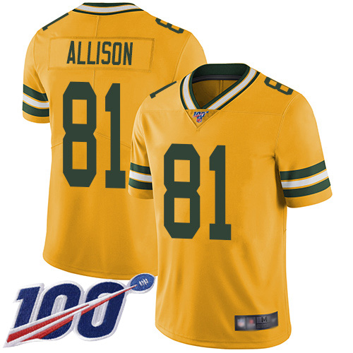 Green Bay Packers Limited Gold Men 81 Allison Geronimo Jersey Nike NFL 100th Season Rush Vapor Untouchable