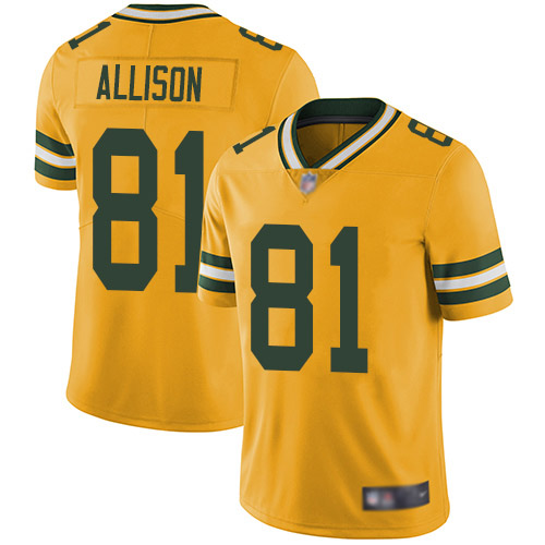 Green Bay Packers Limited Gold Men 81 Allison Geronimo Jersey Nike NFL Rush Vapor Untouchable