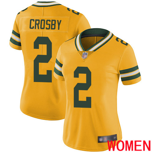 Green Bay Packers Limited Gold Women 2 Crosby Mason Jersey Nike NFL Rush Vapor Untouchable