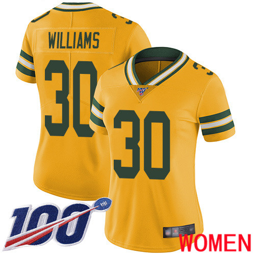 Green Bay Packers Limited Gold Women 30 Williams Jamaal Jersey Nike NFL 100th Season Rush Vapor Untouchable