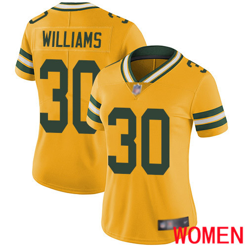 Green Bay Packers Limited Gold Women 30 Williams Jamaal Jersey Nike NFL Rush Vapor Untouchable