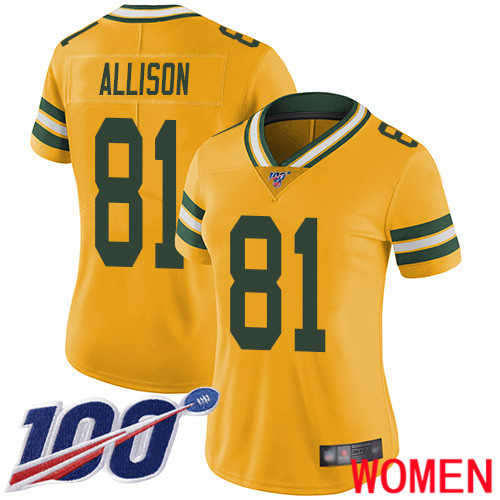 Green Bay Packers Limited Gold Women 81 Allison Geronimo Jersey Nike NFL 100th Season Rush Vapor Untouchable