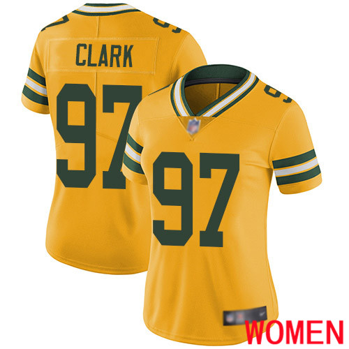 Green Bay Packers Limited Gold Women 97 Clark Kenny Jersey Nike NFL Rush Vapor Untouchable