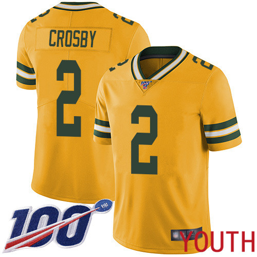 Green Bay Packers Limited Gold Youth 2 Crosby Mason Jersey Nike NFL 100th Season Rush Vapor Untouchable