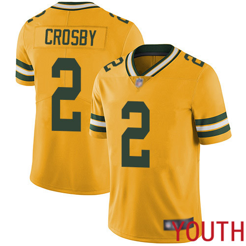 Green Bay Packers Limited Gold Youth 2 Crosby Mason Jersey Nike NFL Rush Vapor Untouchable