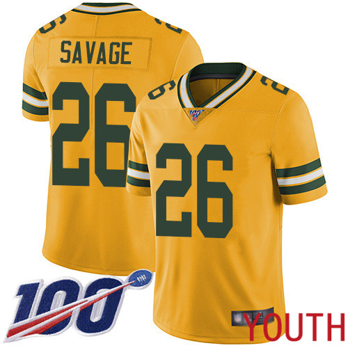 Green Bay Packers Limited Gold Youth 26 Savage Darnell Jersey Nike NFL 100th Season Rush Vapor Untouchable