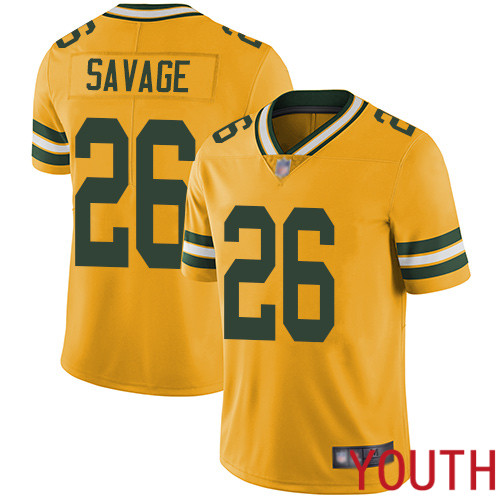 Green Bay Packers Limited Gold Youth 26 Savage Darnell Jersey Nike NFL Rush Vapor Untouchable