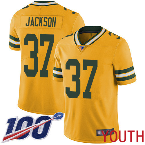 Green Bay Packers Limited Gold Youth 37 Jackson Josh Jersey Nike NFL 100th Season Rush Vapor Untouchable