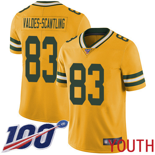 Green Bay Packers Limited Gold Youth 83 Valdes-Scantling Marquez Jersey Nike NFL 100th Season Rush Vapor Untouchable
