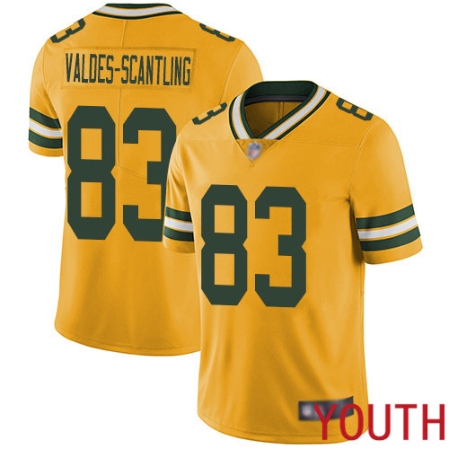 Green Bay Packers Limited Gold Youth 83 Valdes-Scantling Marquez Jersey Nike NFL Rush Vapor Untouchable