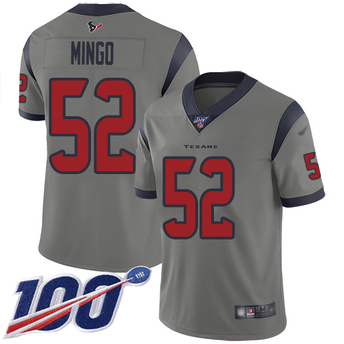 Houston Texans Limited Gray Men Barkevious Mingo Jersey NFL Football 52 100th Season Inverted Legend
