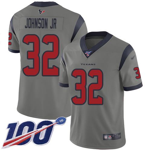 Houston Texans Limited Gray Men Lonnie Johnson Jersey NFL Football 32 100th Season Inverted Legend