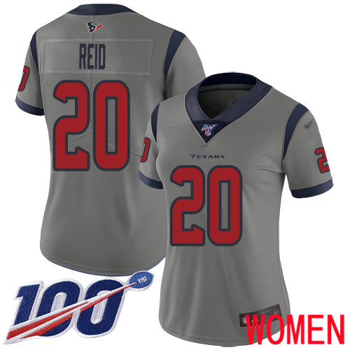 Houston Texans Limited Gray Women Justin Reid Jersey NFL Football 20 100th Season Inverted Legend