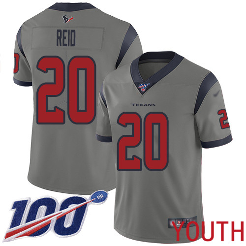Houston Texans Limited Gray Youth Justin Reid Jersey NFL Football 20 100th Season Inverted Legend