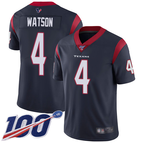 Houston Texans Limited Navy Blue Men Deshaun Watson Home Jersey NFL Football 4 100th Season Vapor Untouchable