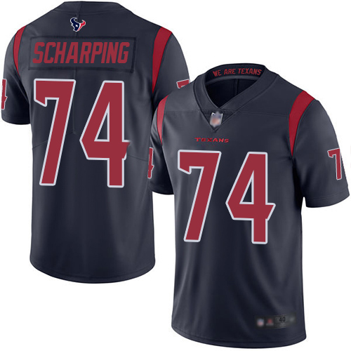 Houston Texans Limited Navy Blue Men Max Scharping Jersey NFL Football 74 Rush Vapor Untouchable