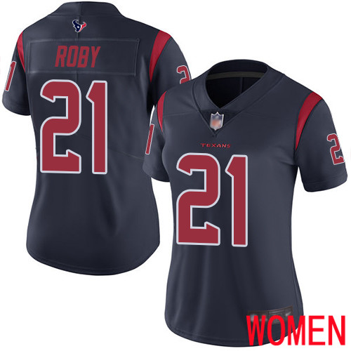 Houston Texans Limited Navy Blue Women Bradley Roby Jersey NFL Football 21 Rush Vapor Untouchable