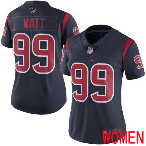 Houston Texans Limited Navy Blue Women J J Watt Jersey NFL Football 99 Rush Vapor Untouchable