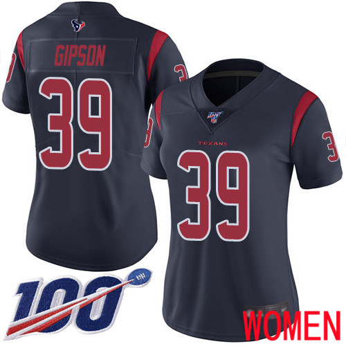 Houston Texans Limited Navy Blue Women Tashaun Gipson Jersey NFL Football 39 100th Season Rush Vapor Untouchable