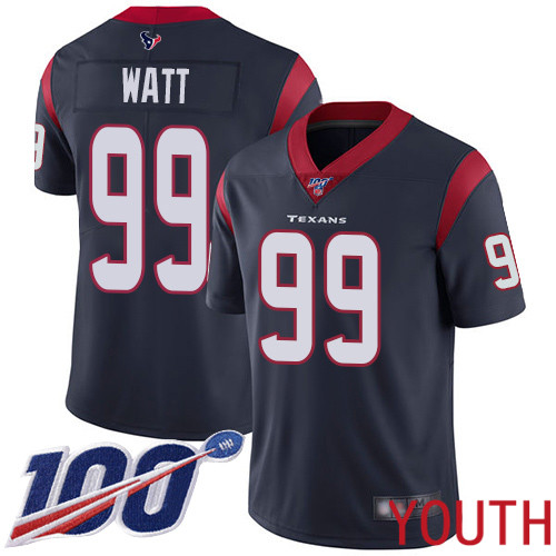 Houston Texans Limited Navy Blue Youth J J Watt Home Jersey NFL Football 99 100th Season Vapor Untouchable