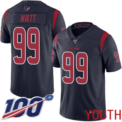 Houston Texans Limited Navy Blue Youth J J Watt Jersey NFL Football 99 100th Season Rush Vapor Untouchable