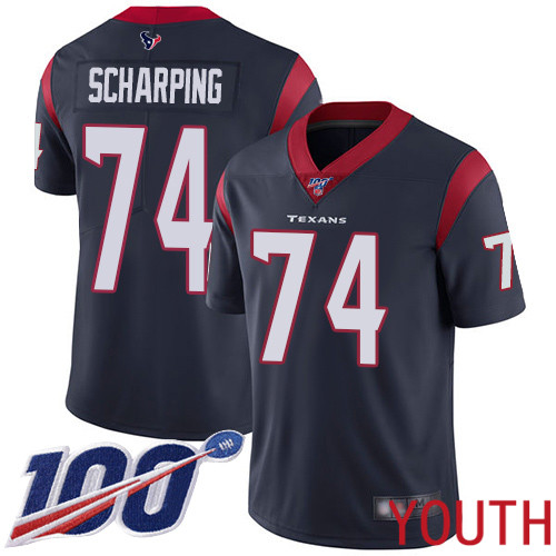 Houston Texans Limited Navy Blue Youth Max Scharping Home Jersey NFL Football 74 100th Season Vapor Untouchable