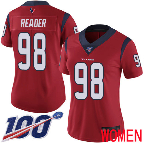 Houston Texans Limited Red Women D J Reader Alternate Jersey NFL Football 98 100th Season Vapor Untouchable