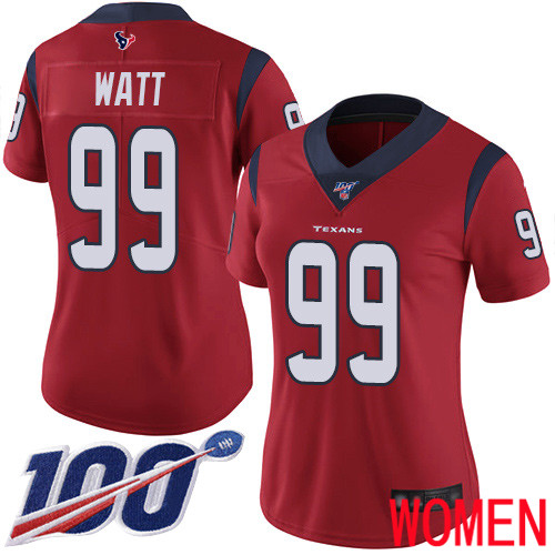 Houston Texans Limited Red Women J J Watt Alternate Jersey NFL Football 99 100th Season Vapor Untouchable