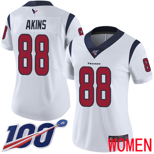 Houston Texans Limited White Women Jordan Akins Road Jersey NFL Football 88 100th Season Vapor Untouchable