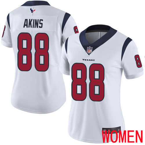 Houston Texans Limited White Women Jordan Akins Road Jersey NFL Football 88 Vapor Untouchable